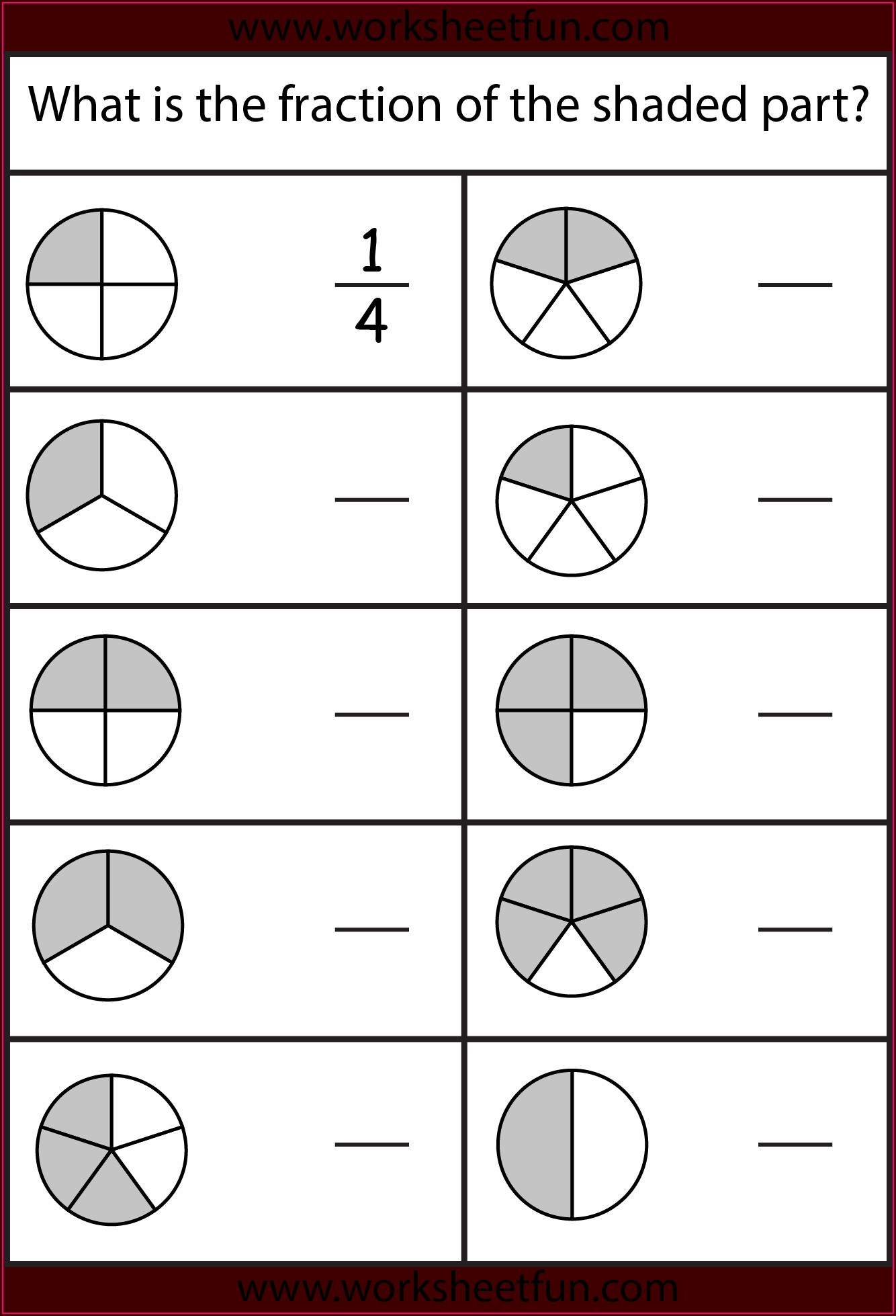 Worksheet On Fractions For Grade 4