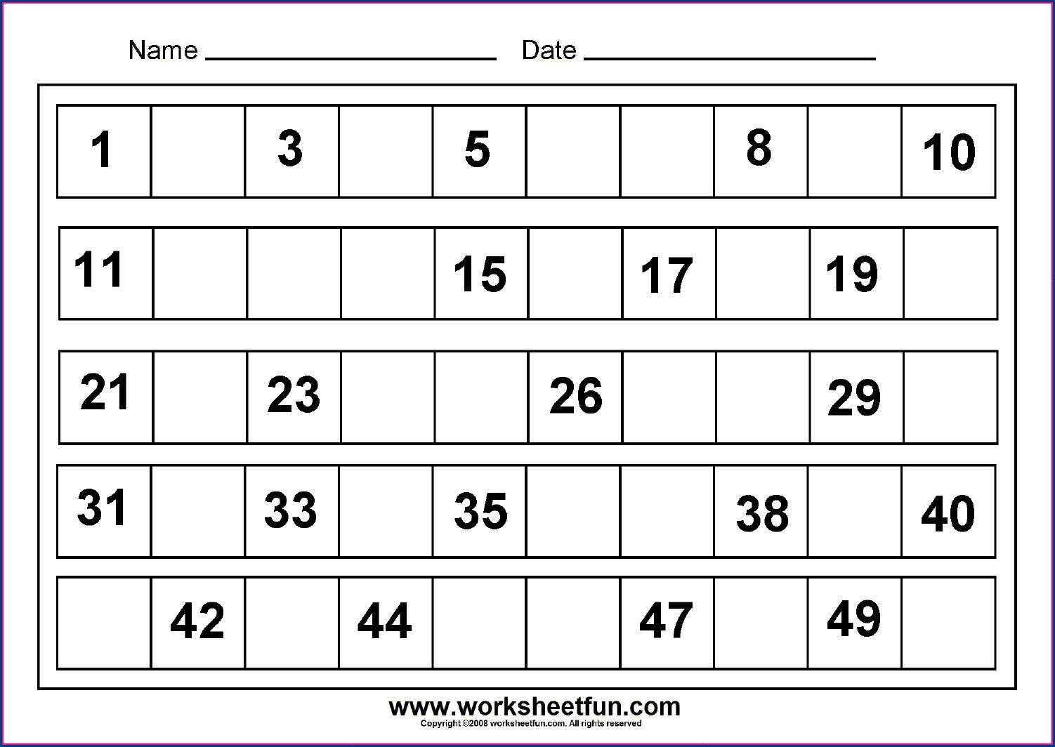 Worksheet On Numbers 1 20