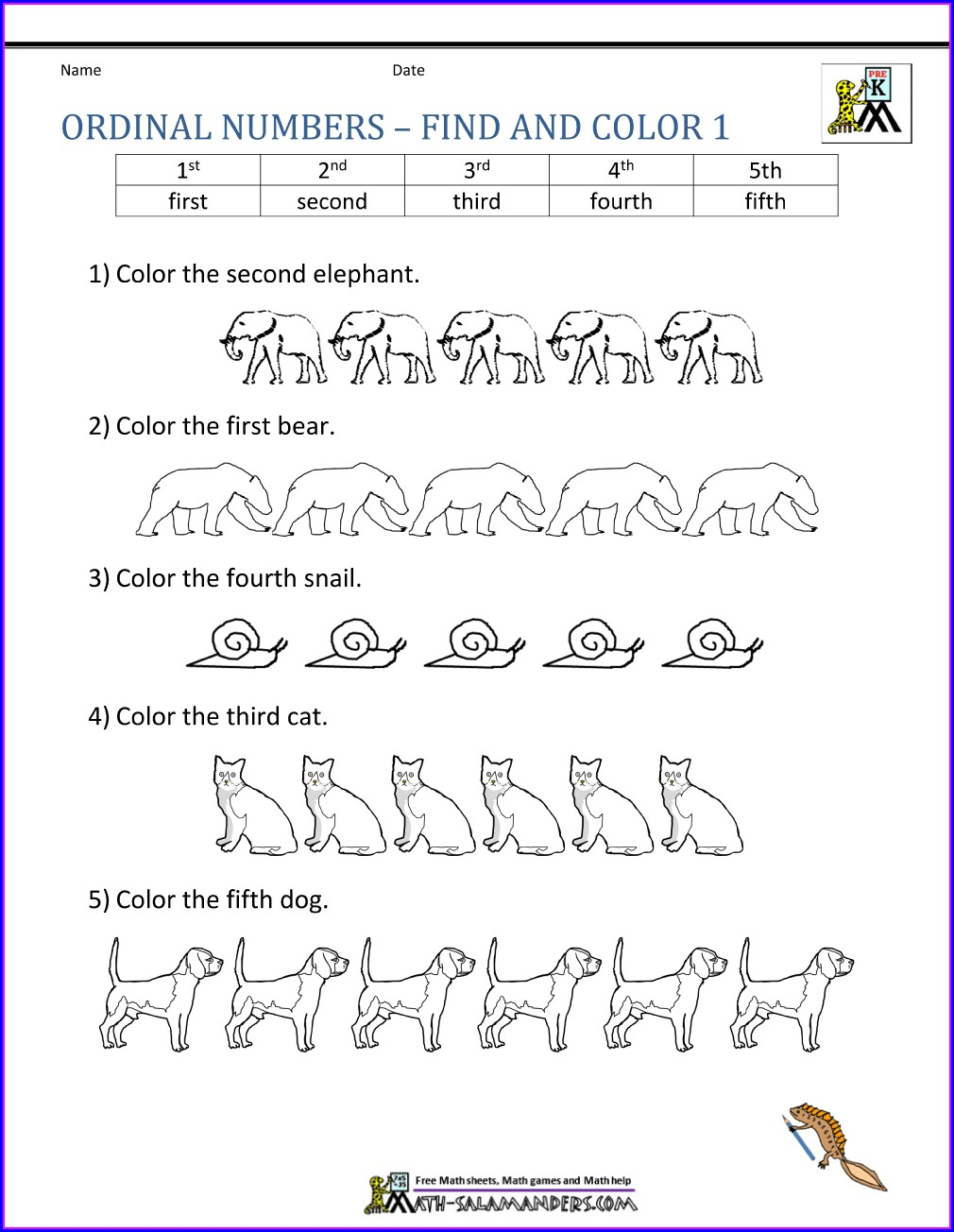 Worksheet On Ordinal Numbers For Class 1