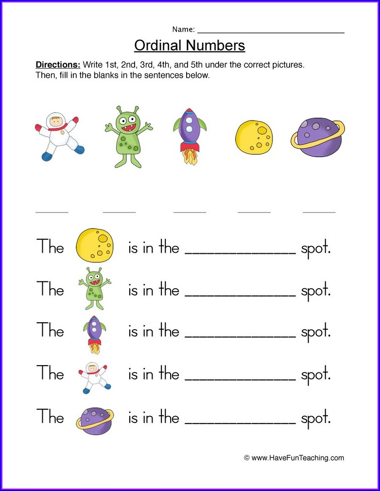 Worksheet On Ordinal Numbers For Kindergarten