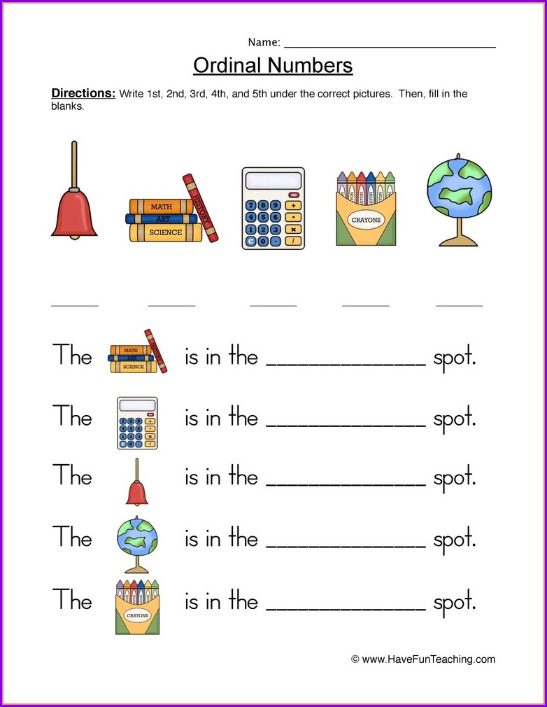 Worksheet On Ordinal Numbers For Preschool