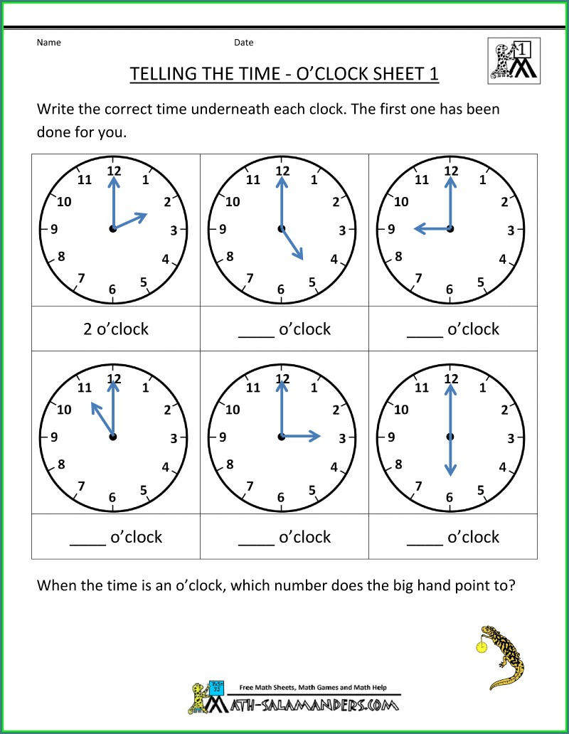Worksheet On Telling Time For Grade 1