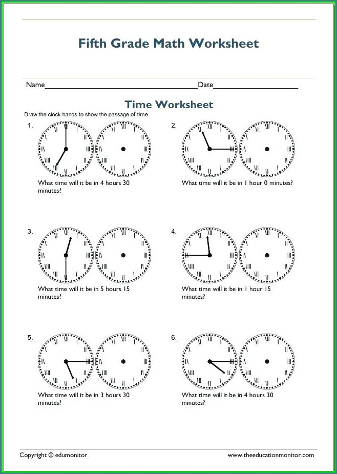 Worksheet On Time For Grade 2