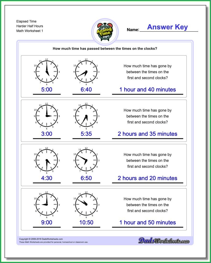 Worksheet On Time For Grade 5