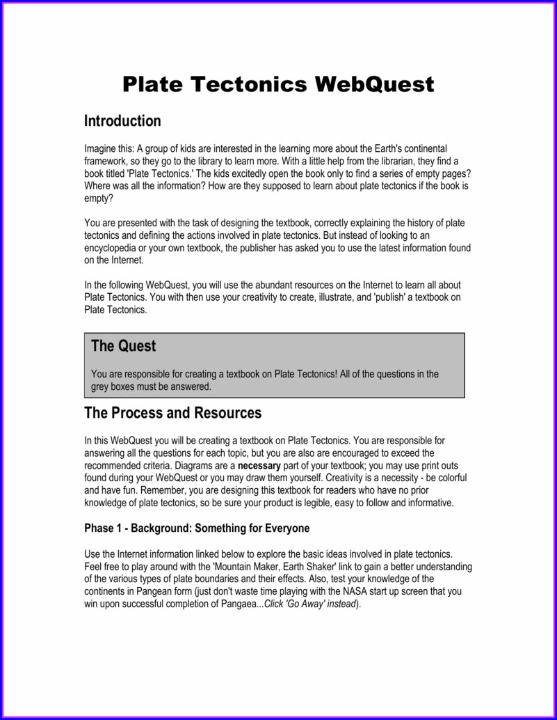 Worksheet Plate Tectonics Webquest Answer Key