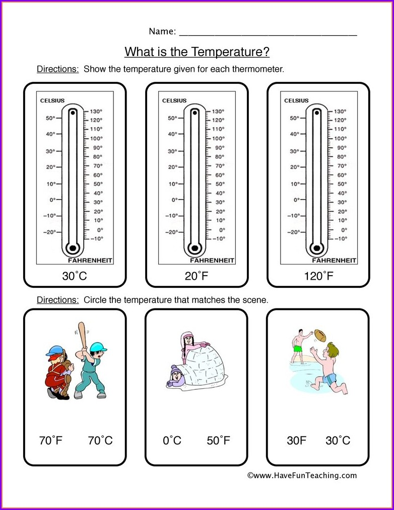 Worksheet Reading A Thermometer