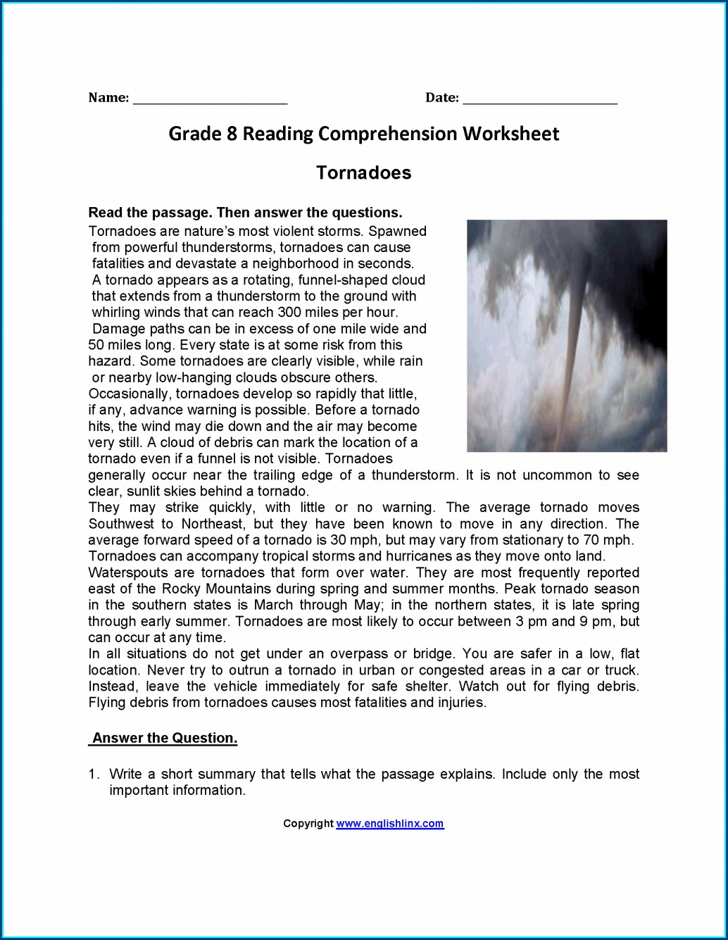 Worksheet Reading Comprehension 8th Grade