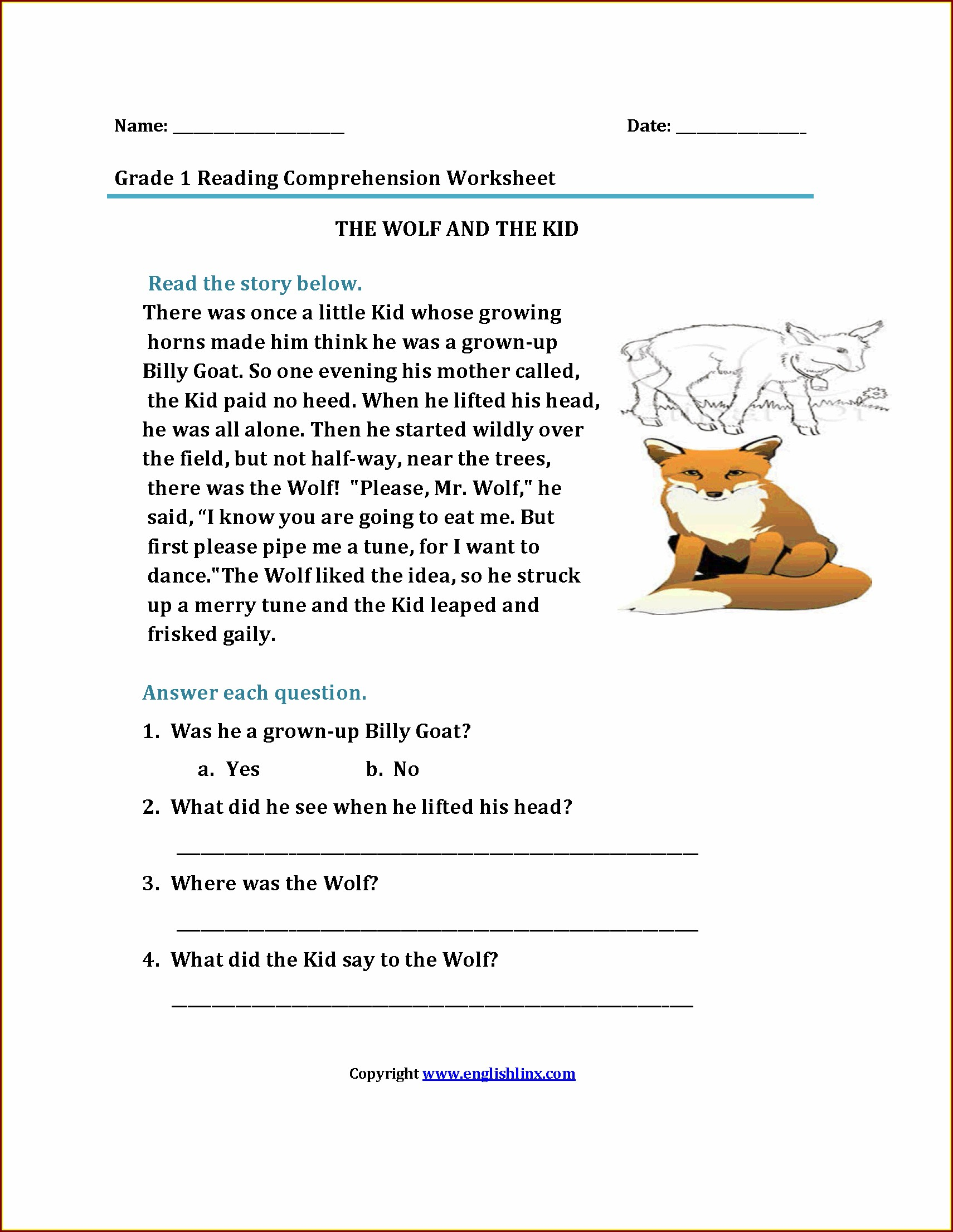 Worksheet Reading Comprehension Year 1