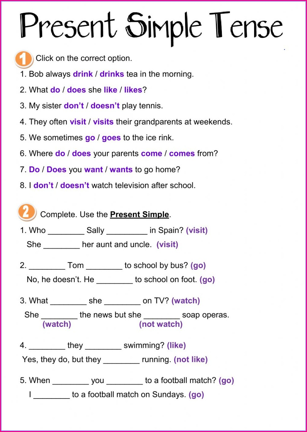 Worksheet Simple Present Tense Examples Sentences Pdf