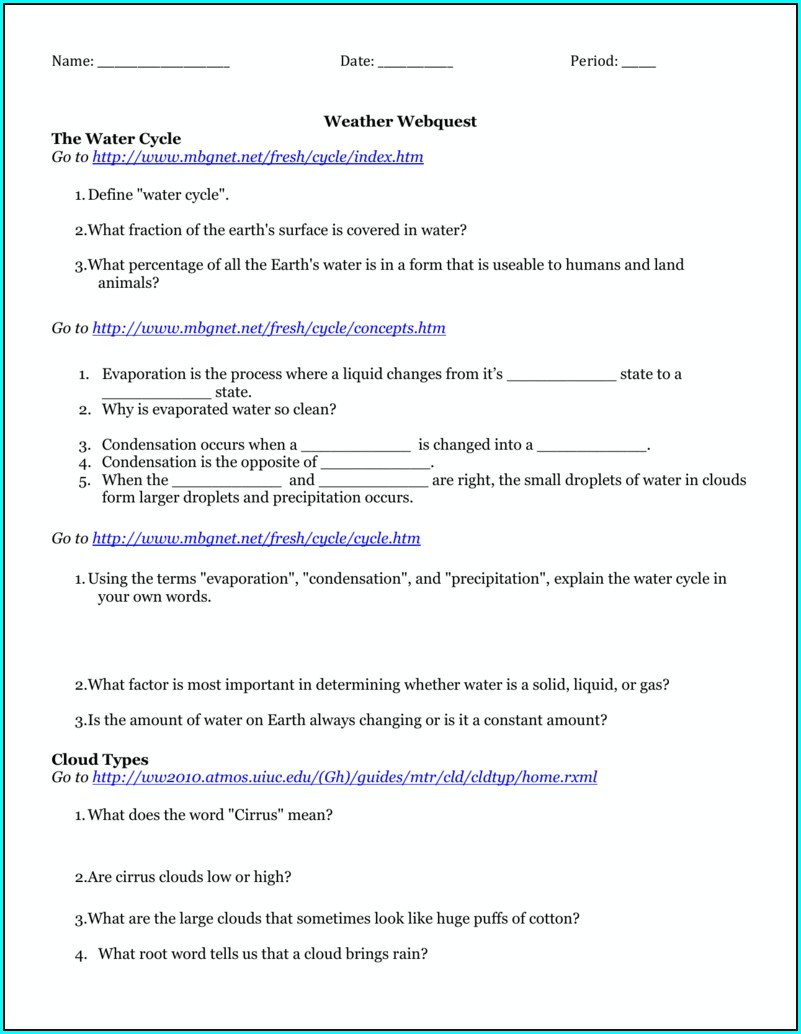 Worksheet Water Cycle Webquest Answer Key