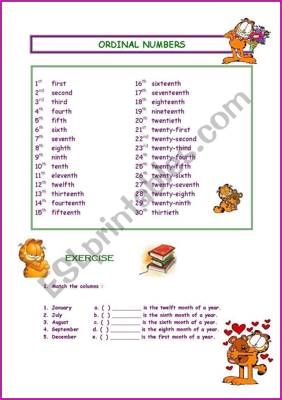 Worksheet With Ordinal Numbers