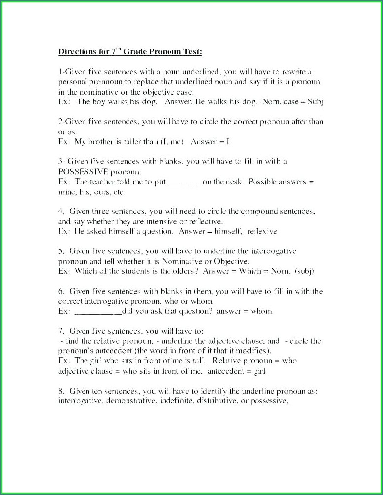 Worksheets For Grade 5 On Nouns