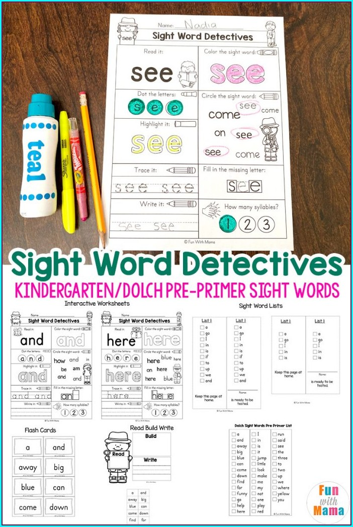 Worksheets Kindergarten Sight Words List Printable