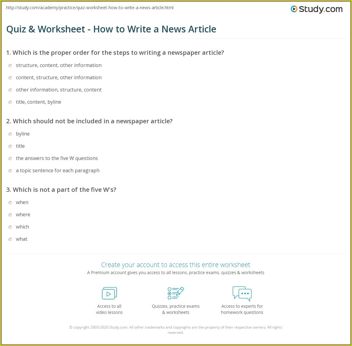 Write News Article Worksheet
