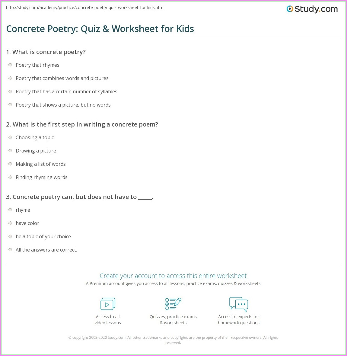 Writing A Concrete Poem Worksheet