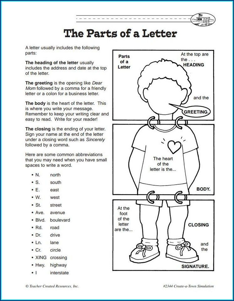 Writing A Letter Worksheet Pdf