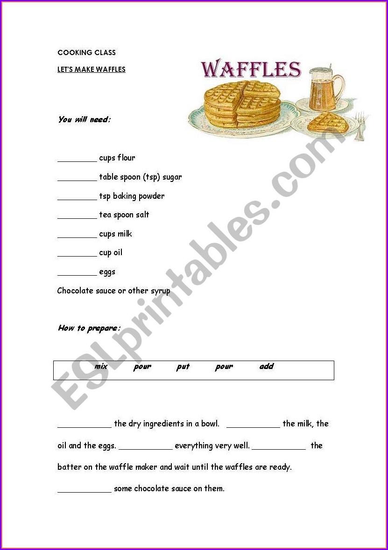 Writing A Recipe Worksheet Pdf