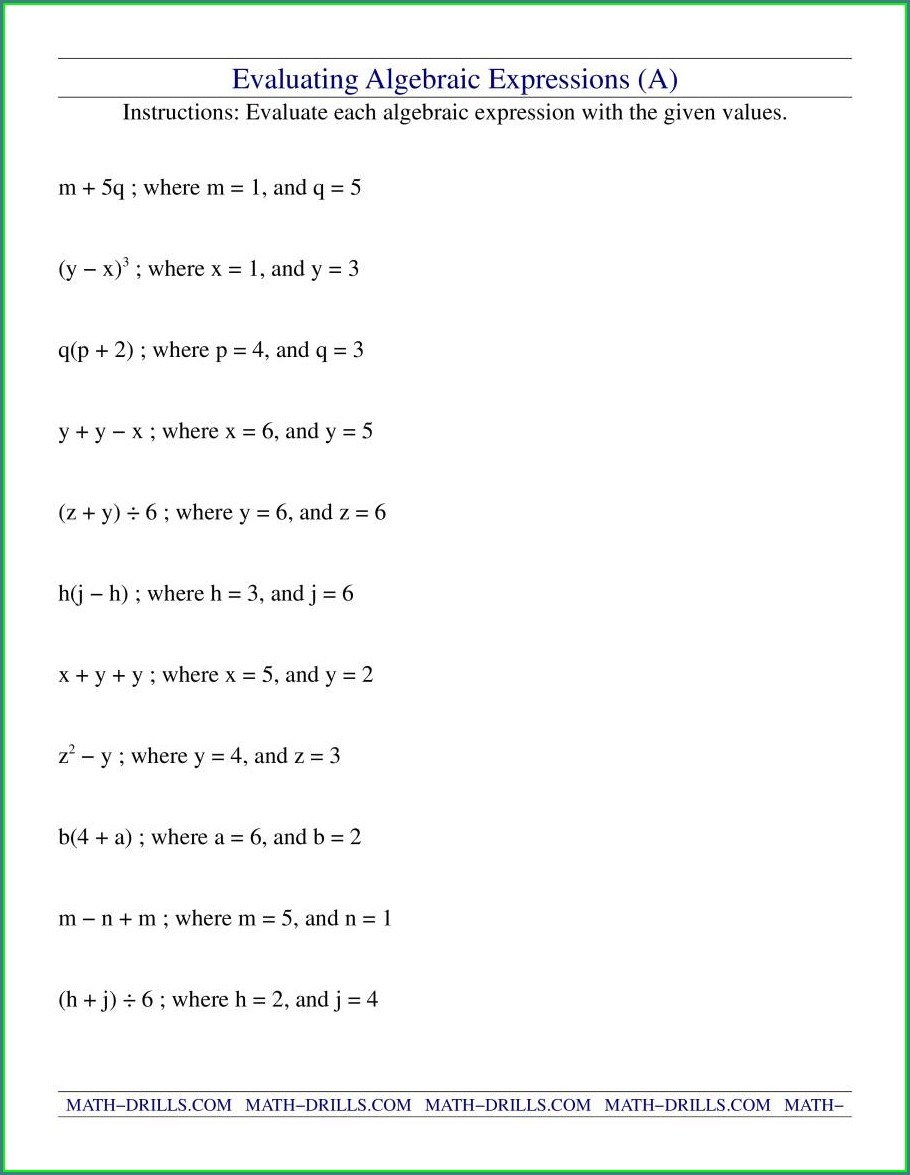Writing Algebraic Expressions Worksheet Answer Key