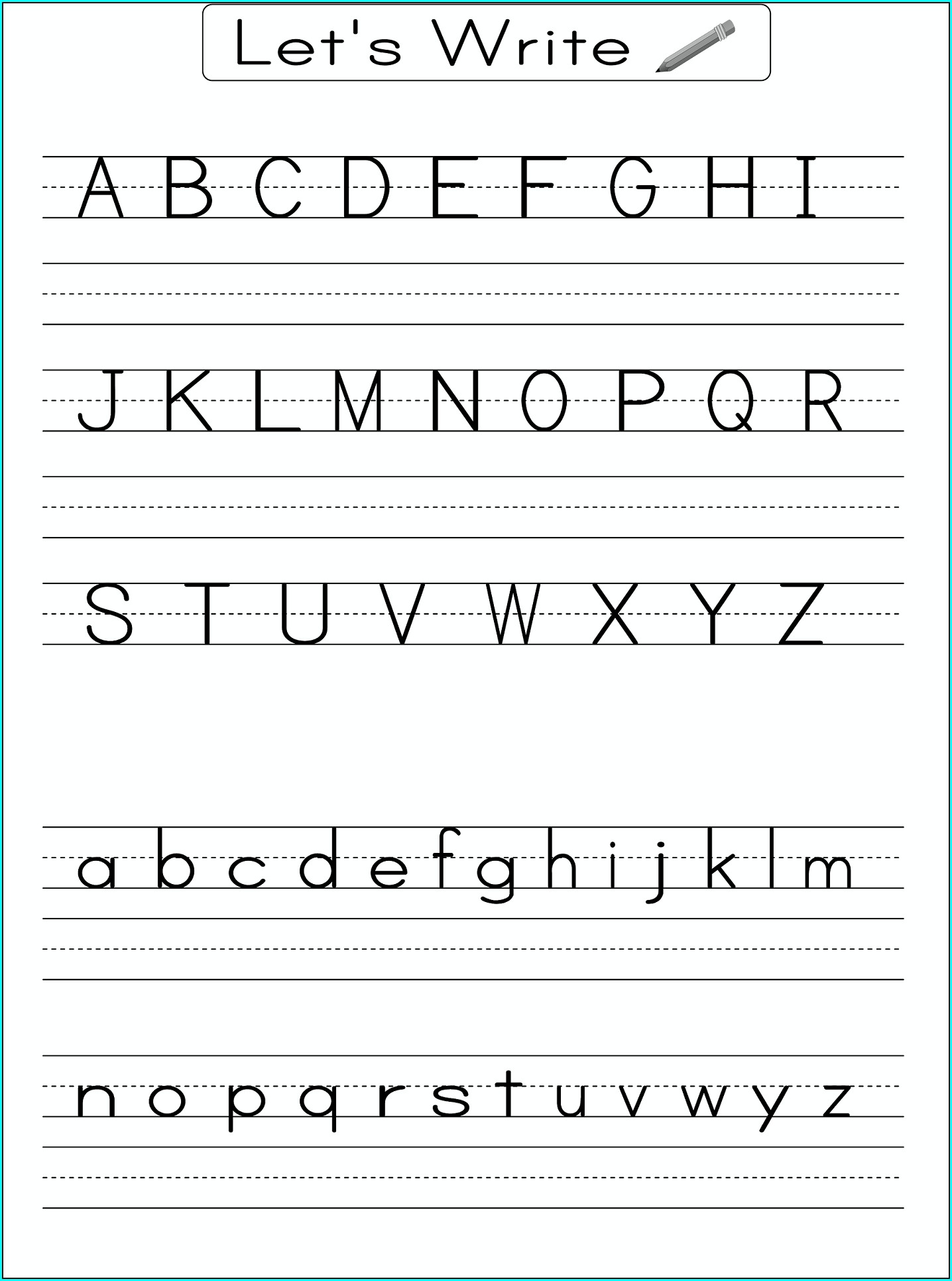 Writing Alphabet Kindergarten Worksheets