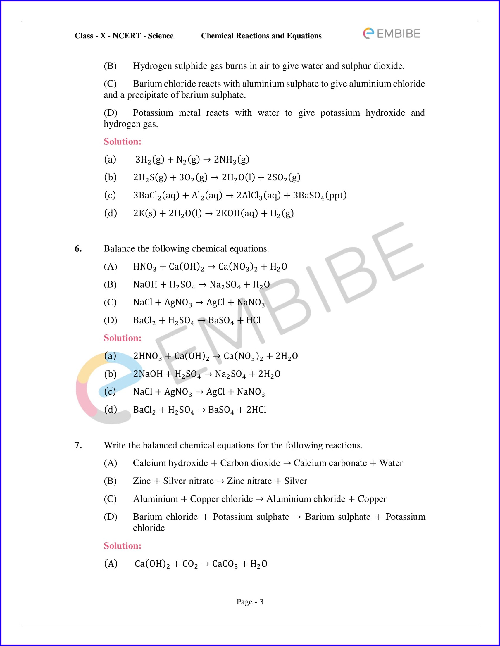 Writing Chemical Equations Worksheet Answers Pdf