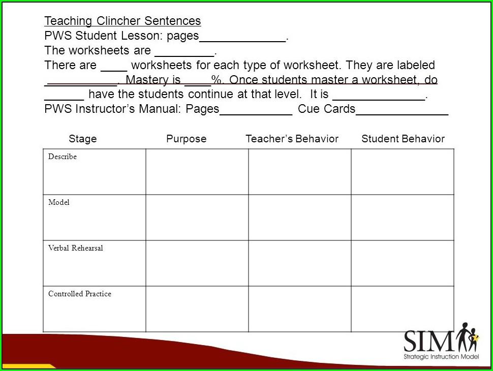 Writing Clincher Sentences Worksheet