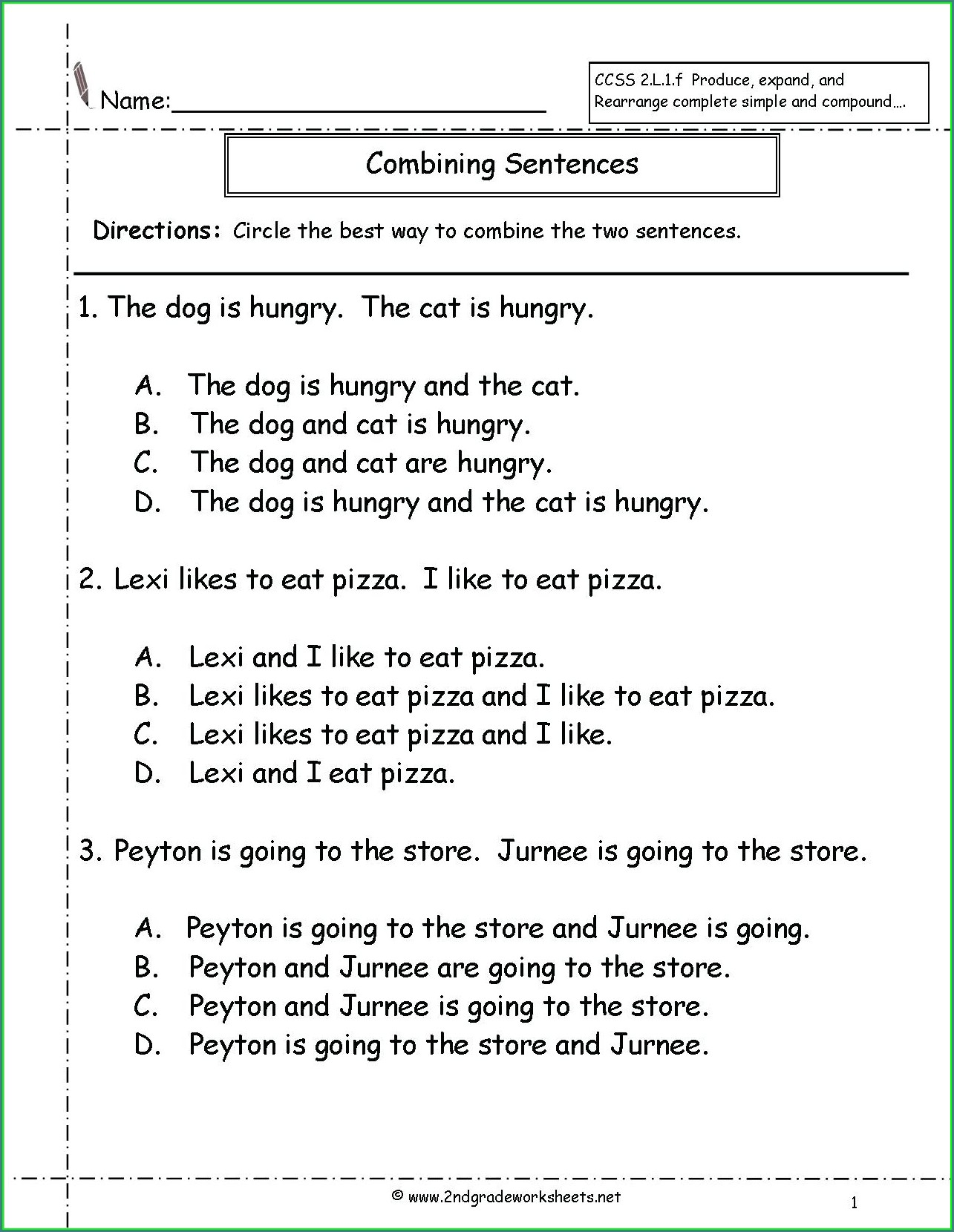 Writing Complete Sentences Worksheets 1st Grade