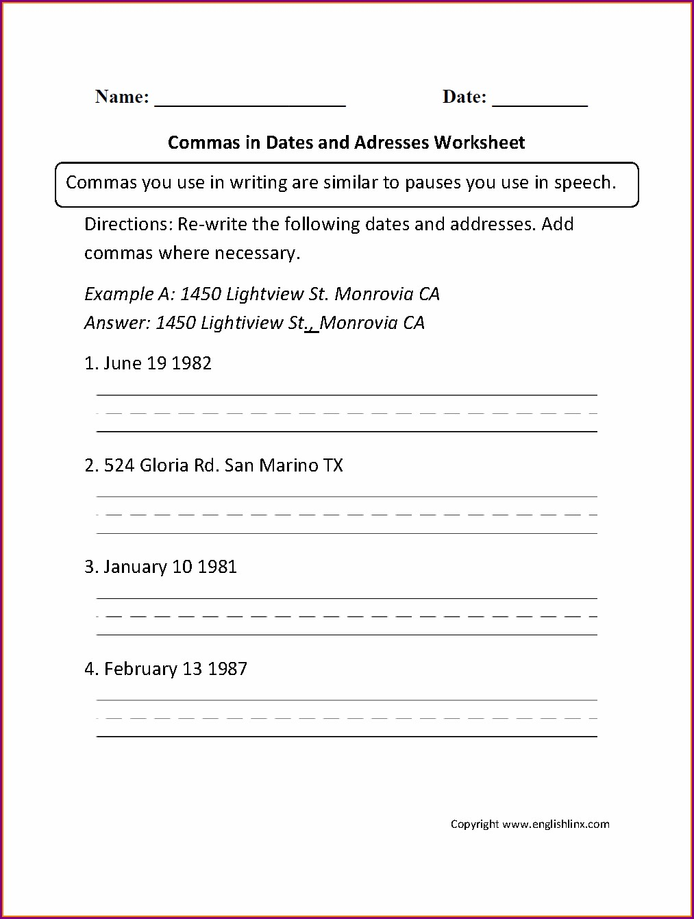 Writing Dates Worksheets Grade 2