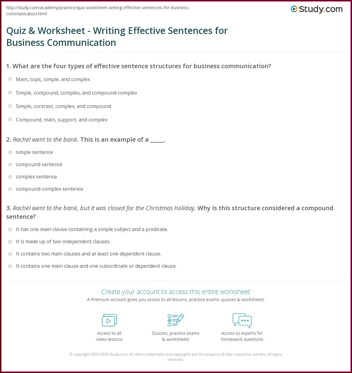Writing Effective Sentences Worksheet Answers