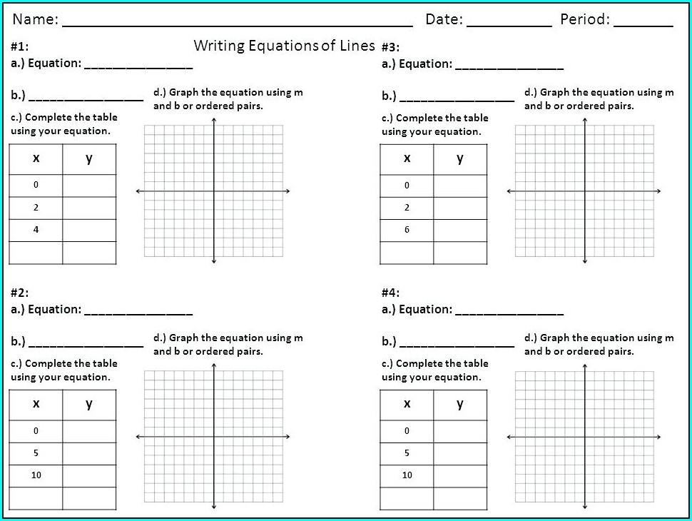Writing Equations From Tables Worksheet Pdf