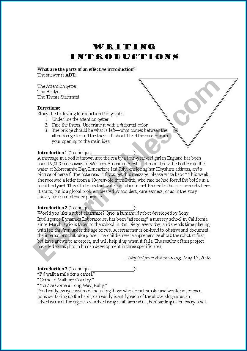 Writing Essay Introductions Worksheet