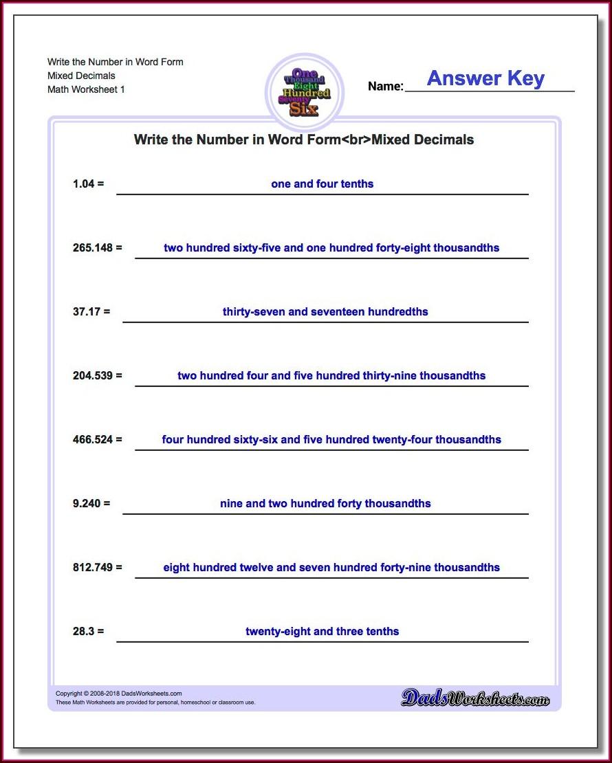 Writing Large Numbers In Words Worksheet