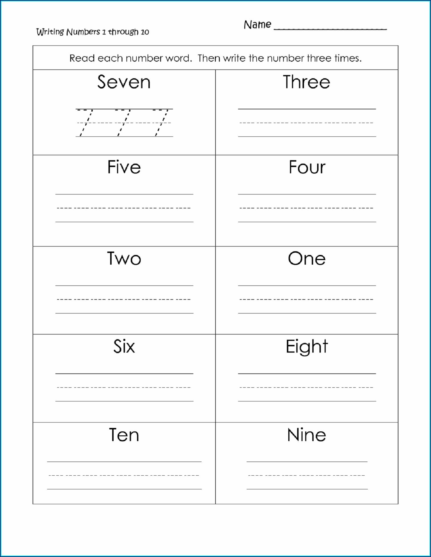 Writing Number Names Worksheet For Grade 1