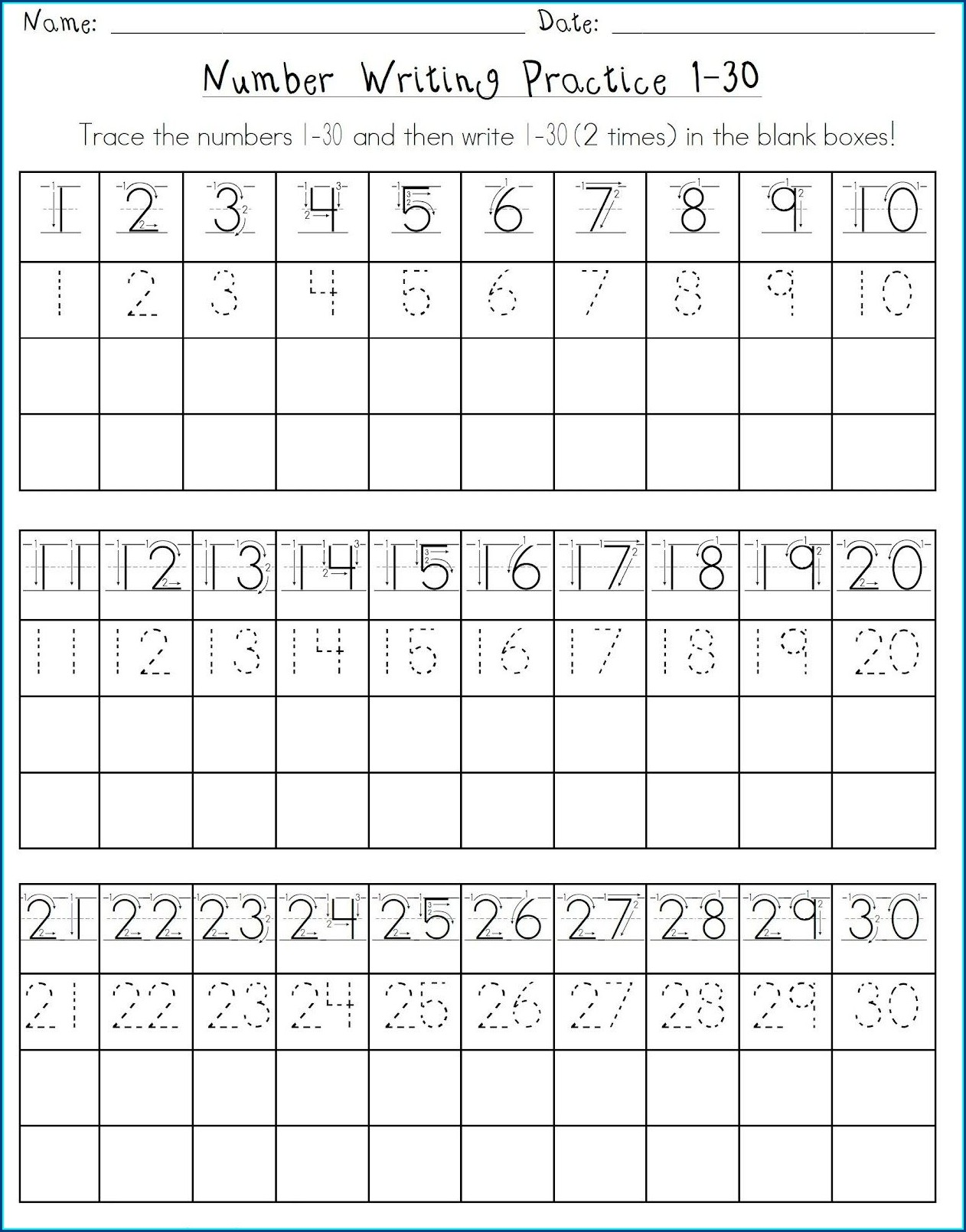 Writing Numbers 1 30 Worksheets