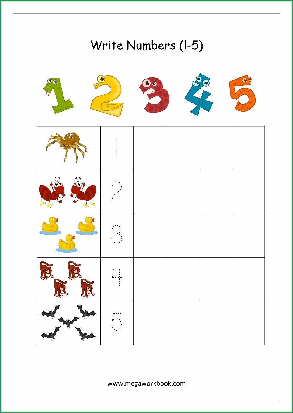 Writing Numbers Worksheet Free Printable