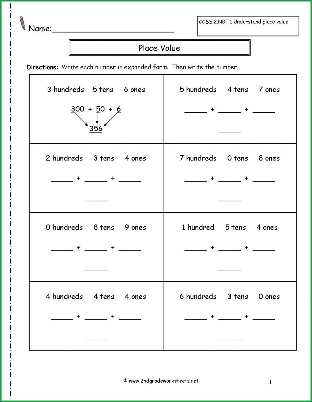 Writing Numbers Worksheet Free