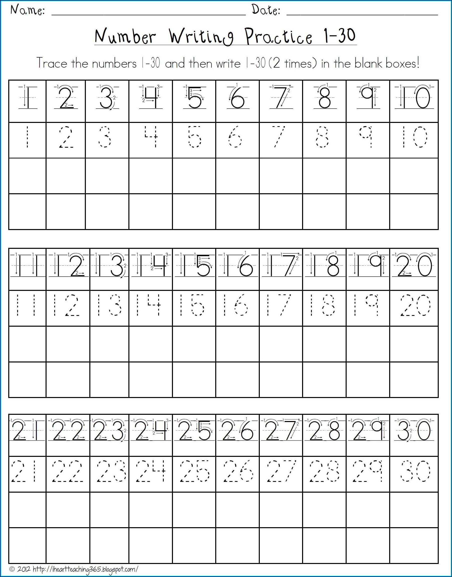 Writing Numbers Worksheets 1 10