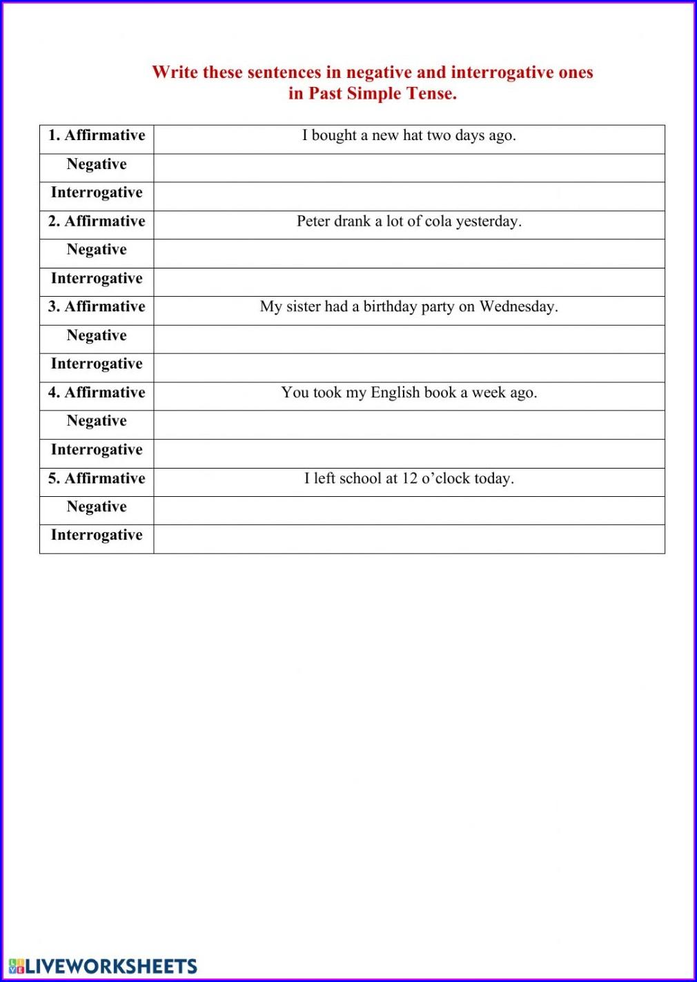Writing Past Tense Sentences Worksheet