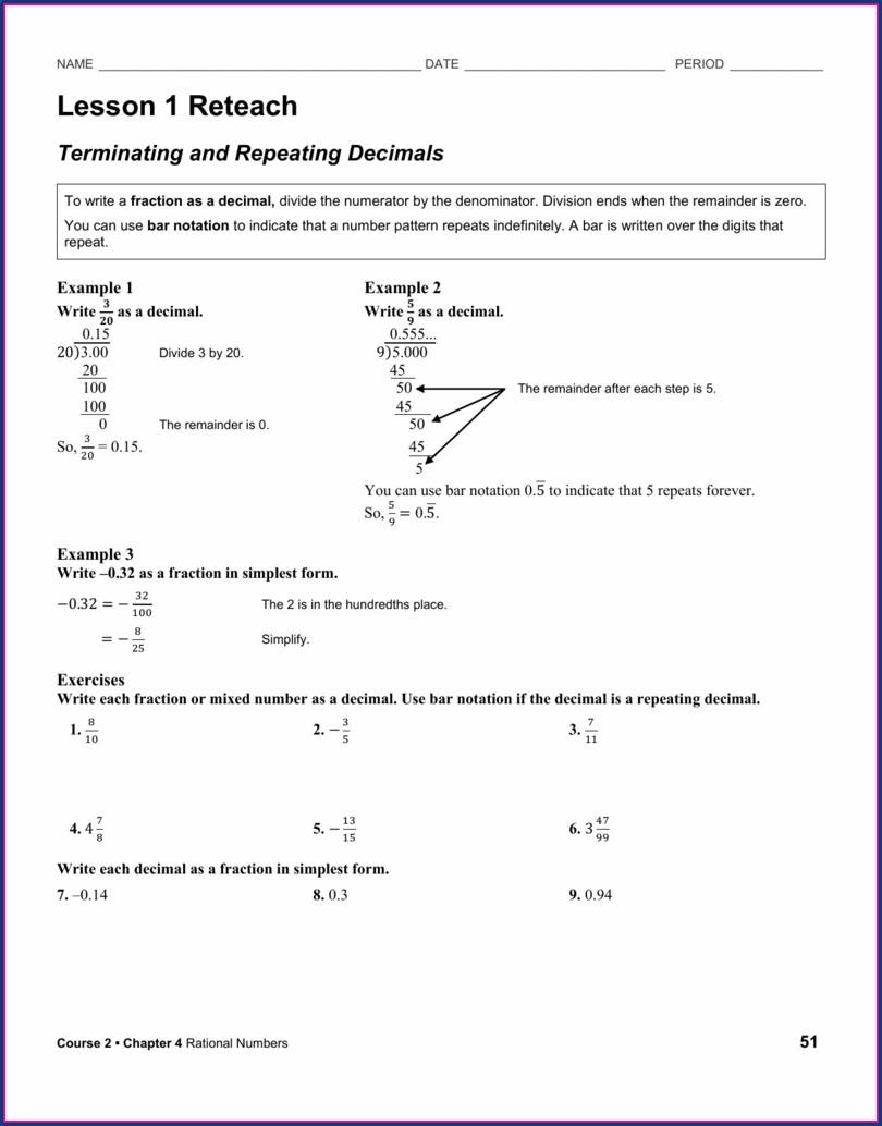 Writing Rational Numbers As Decimals Worksheet