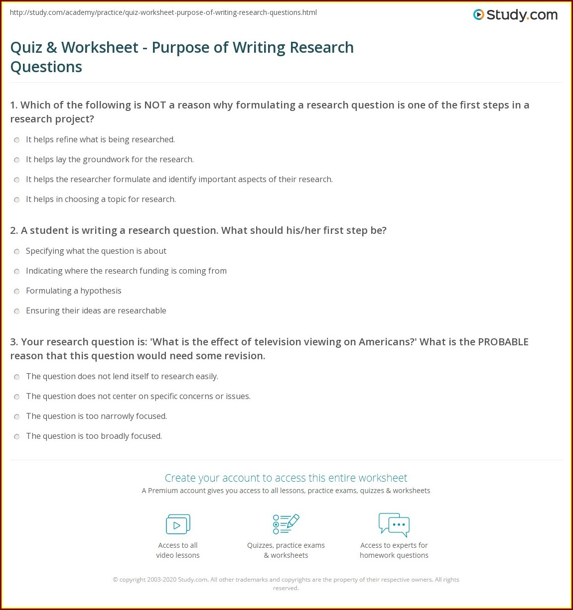 Writing Research Questions Worksheet