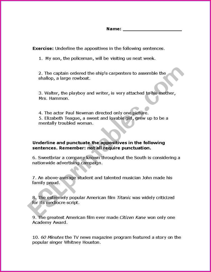 Writing Sentences With Appositives Worksheet