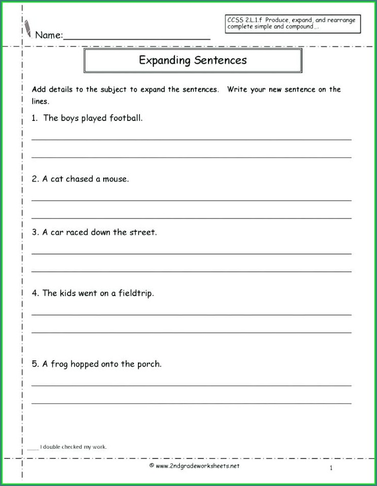 Writing Sentences Worksheets For Grade 1