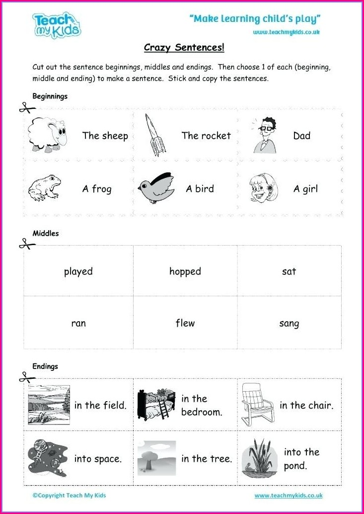 Writing Sentences Worksheets For Kindergarten Pdf