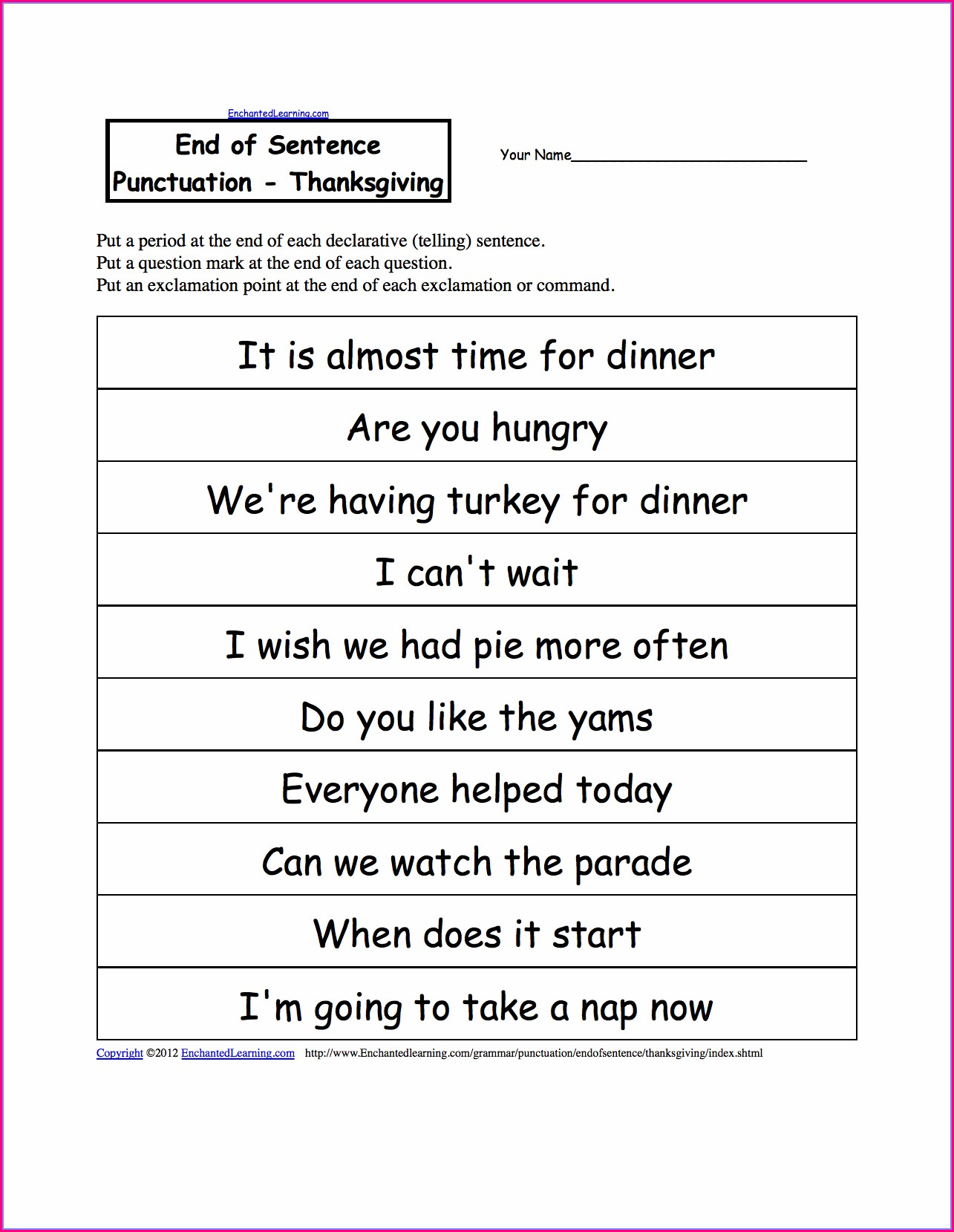 Writing Sentences Worksheets For Kindergarten