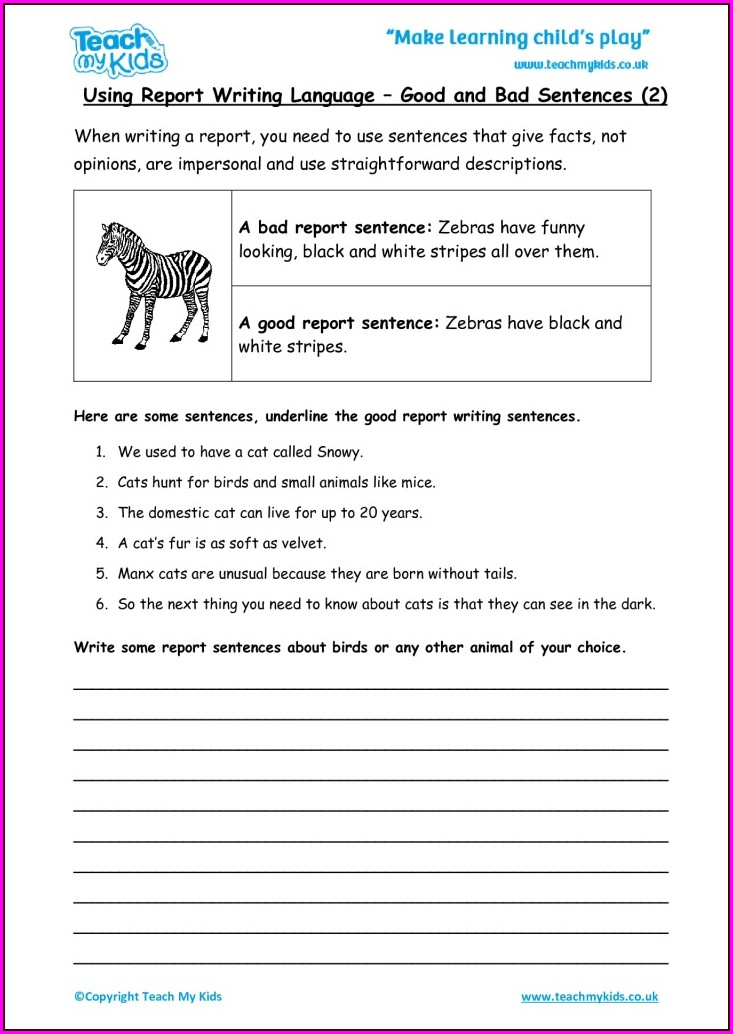 Writing Sentences Worksheets Uk