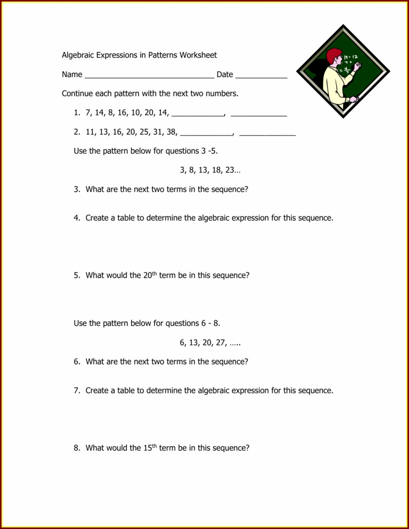 Year 5 Patterns And Algebra Worksheets