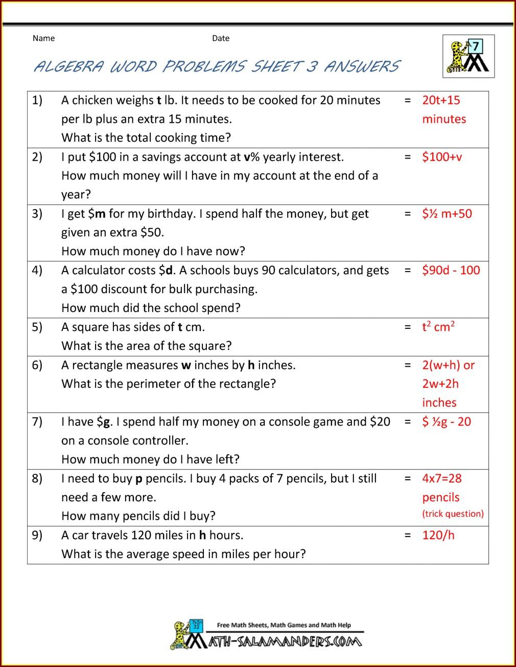 Year 6 Algebra Worksheets Pdf Uk