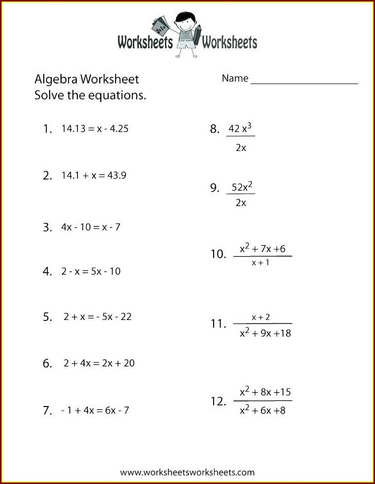 Year 6 Algebra Worksheets Pdf