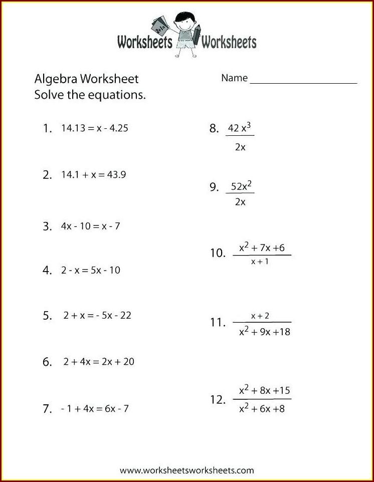 Year 6 Algebra Worksheets Pdf
