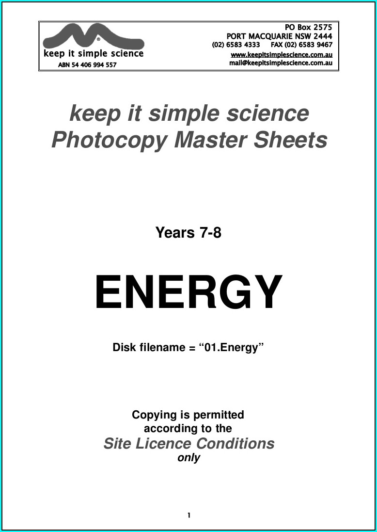 Year 7 Science Worksheet