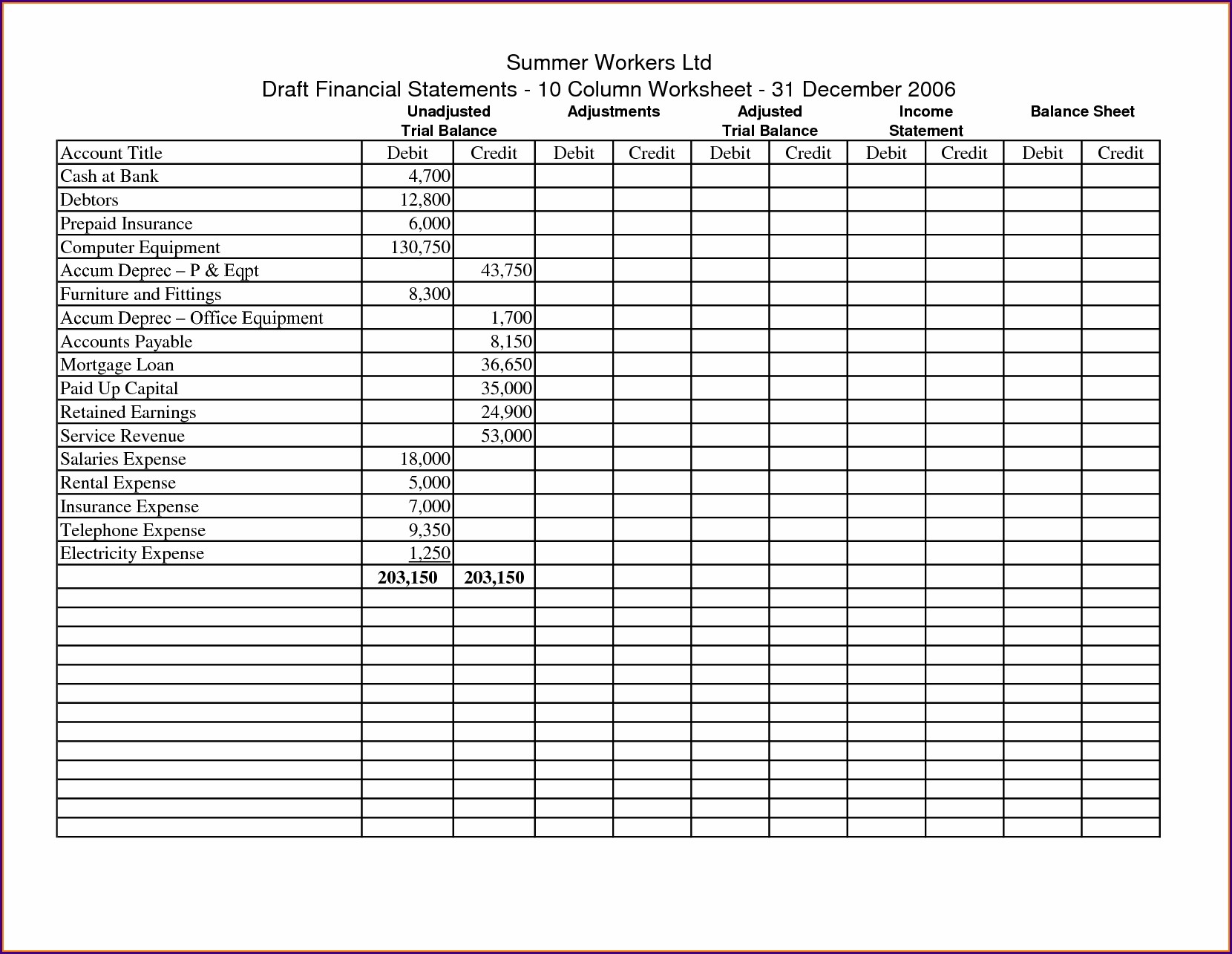 10 Column Accounting Worksheet Excel Template